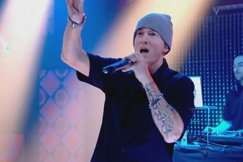 """Eminem Performs """"Lose Yourself"""" At Beats By Dre Grammy Party"""