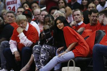 Travis Scott & Kylie Jenner Spotted Courtside At Houston Rockets Game