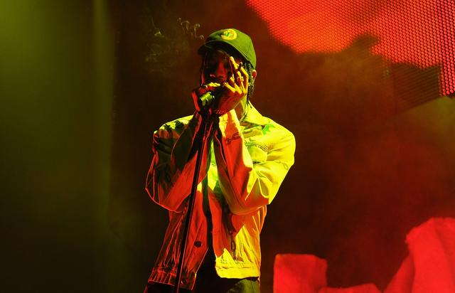"""Travi$ Scott performing at The Weeknd's """"Madness"""" show in Brooklyn"""