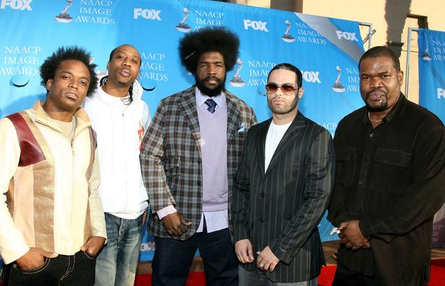 'The Roots' band members Kirk 'Captain Kirk' Douglass, Frank 'Knuckles' Walker, Ahmir '?uestlove' Thompson, James 'Kamal' Gray, and Leonard 'Hub' Hubbard arrive at the 38th annual NAACP Image Awards held at the Shrine Auditorium on March 2, 2007 in Los Angeles, California