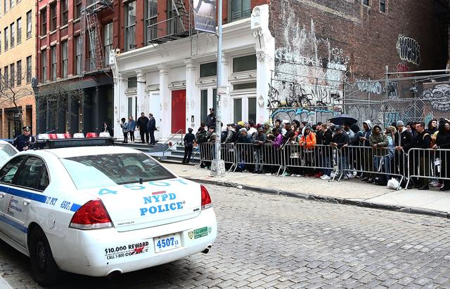 NYPD guard the area near 83 Wooster Street in Soho at the Kanye West 'Pablo Pop-Up Shop' In Manhattan on March 18, 2016 in New York City.