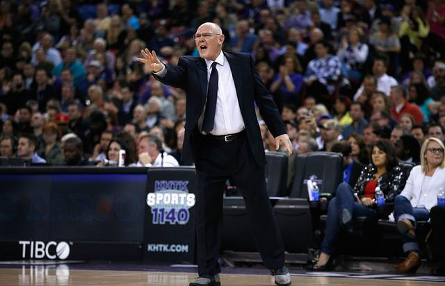 Former head coach George Karl of the Sacramento Kings stands on the side of the court during their game against the Memphis Grizzlies at Sleep Train Arena on February 25, 2015 in Sacramento, California.