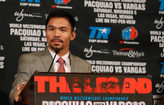 Manny Pacquiao speaks during a press conference at the Beverly Hills Hotel on September 8, 2016 in Beverly Hills, California.