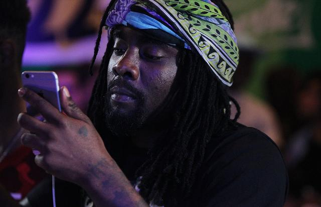 Wale records a brand new track in front of a crowd of inspired young people at The Sprite Corner in New York City on August 23, 2015 in New York City.