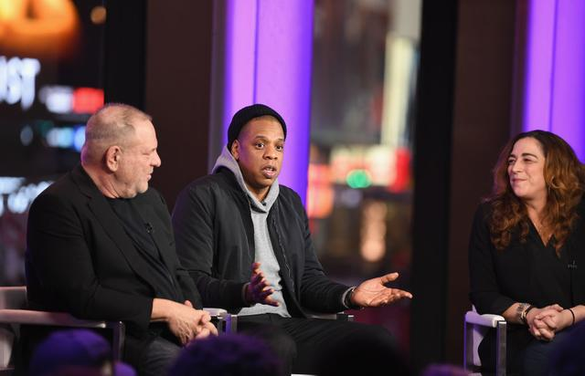 Harvey Weinstein, Jay Z, and Kristi Jacobson speak onstage during TIME AND PUNISHMENT: A Town Hall Discussion with JAY Z and Harvey Weinstein on Spike TV at MTV Studios on March 8, 2017 in New York City