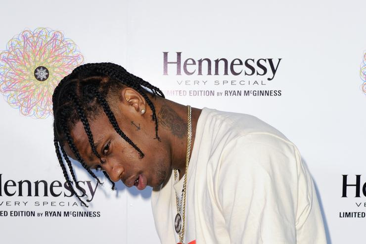Travi$ Scott at the Hennessy V.S Ryan McGinness Limited Edition Bottle Launch Event