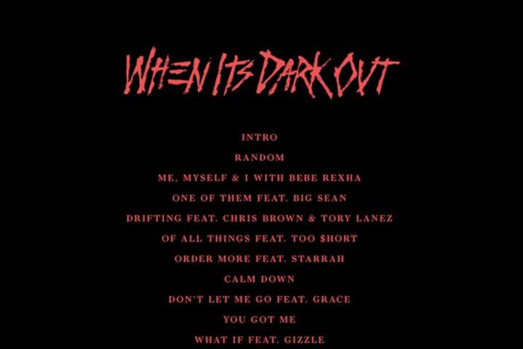 """""""When It's Dark Out"""" tracklist (back cover)"""