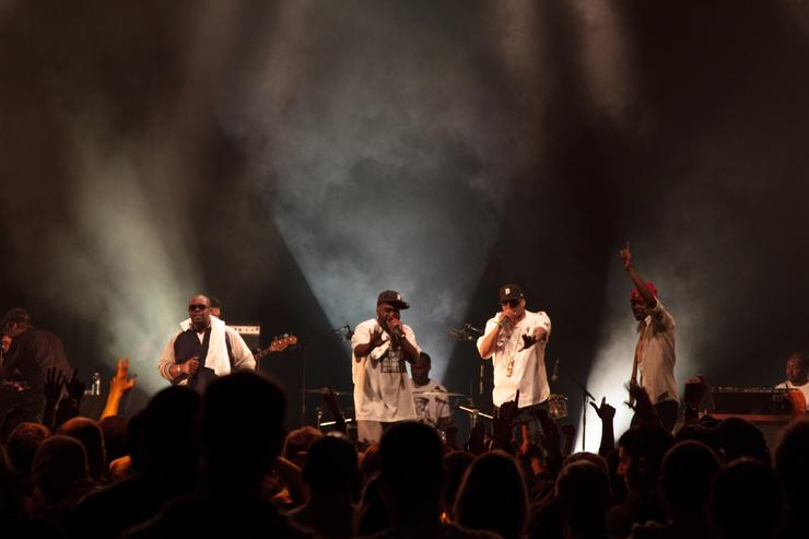 (L-R) Phat Kat, Frank'N'Dank and Illa J perform onstage for a Tribute to J Dilla during the 'Rue Hip Hop' Festival at Grande Halle de La Villette on May 20, 2011 in Paris, France.