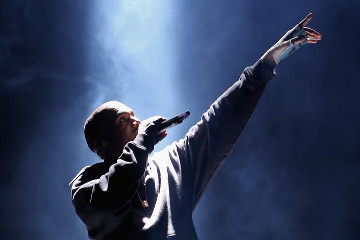 Kanye West on stage for Roc Nation Event