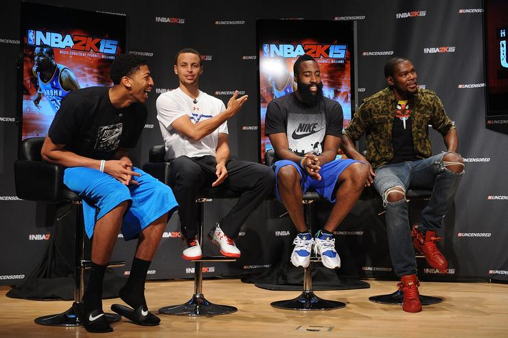 Anthony Davis, Stephen Curry, James Harden and Kevin Durant at a 2K15 event.