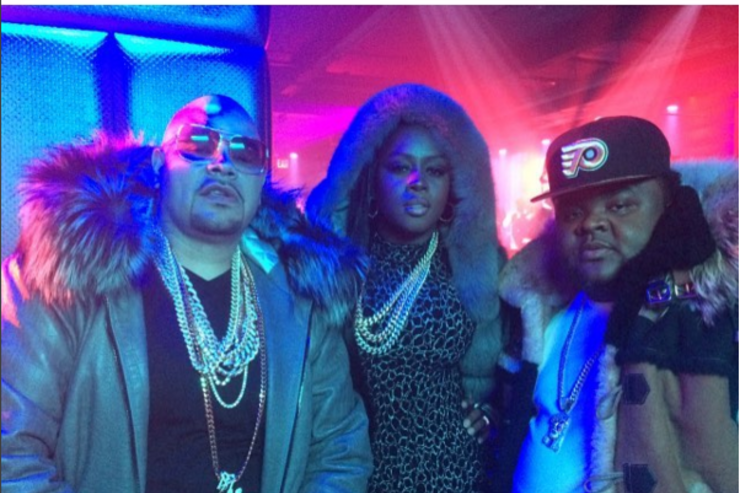 "Fat Joe, Remy Ma and Fred the Godson at the shoot for ""All The Way Up"""