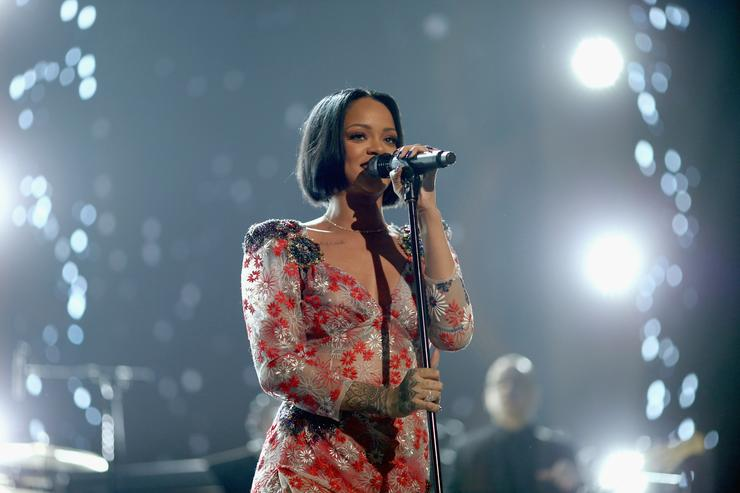 Rihanna rehearsing on stage at Grammys