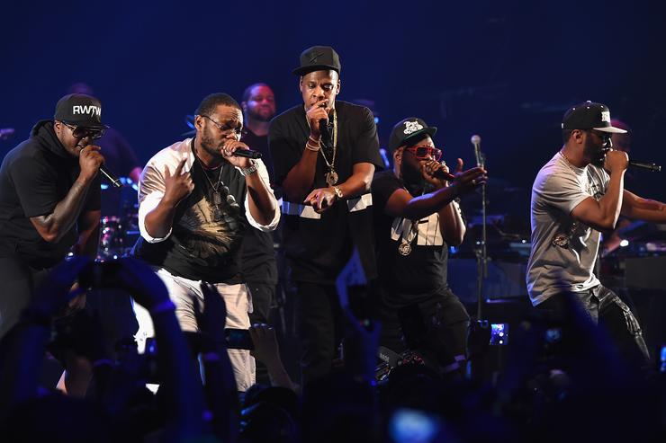 Jay Z performs with Beanie Sigel, Young Chris, Freeway & Neef Buck at an NYC TIDAL event.
