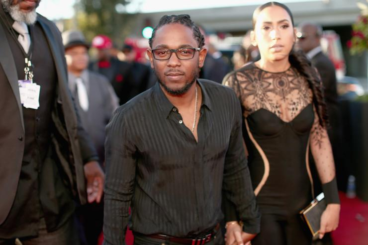 Kendrick Lamar and his girlfriend at the Grammys