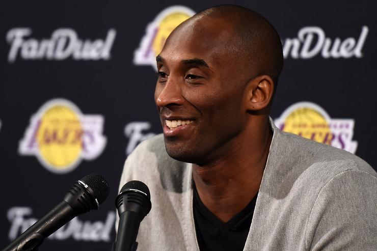 Kobe Bryant #24 of the Los Angeles Lakers speaks to the media following a game against the New Orleans Pelicans at the Smoothie King Center on April 8, 2016 in New Orleans, Louisiana.