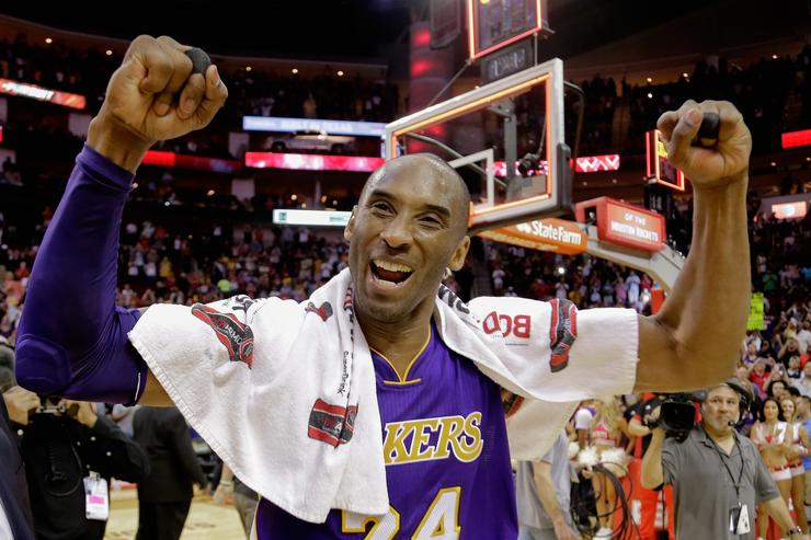 Kobe Bryant #24 of the Los Angeles Lakers reacts to the crowd as he leaves the court at Toyota Center on April 10, 2016 in Houston, Texas.