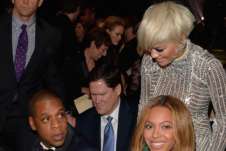 Jay Z, Rita Ora and Beyonce at the 2015 Grammys