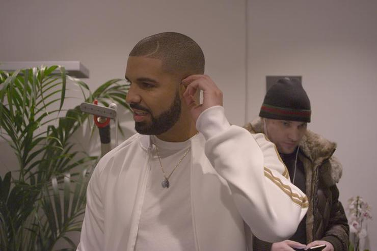 Drake backstage on tour