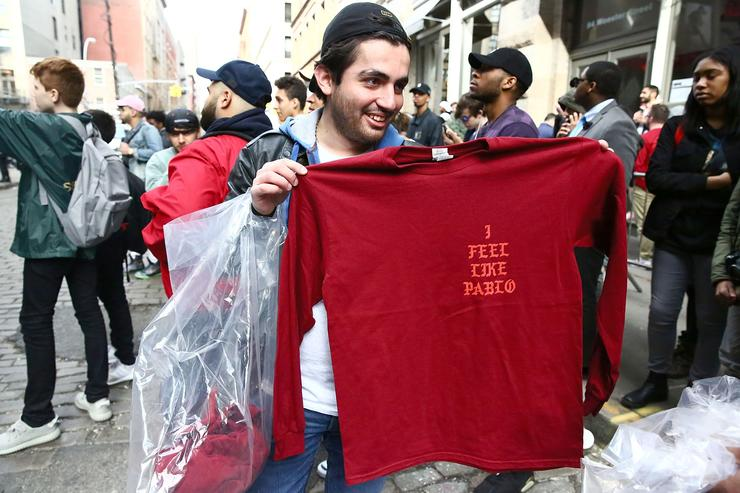 Shirts designed by Kanye West are displayed outside 83 Wooster Street in Soho at the Kanye West 'Pablo Pop-Up Shop' In Manhattan on March 18, 2016 in New York City.