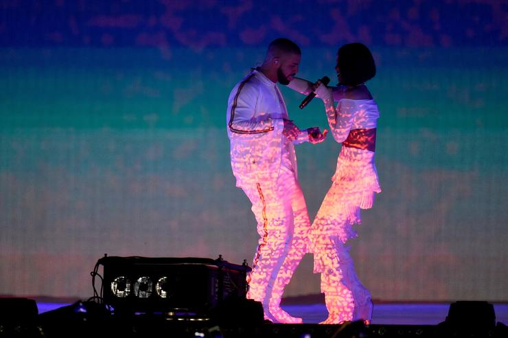 Drake performing with Rihanna at the BRIT Awards