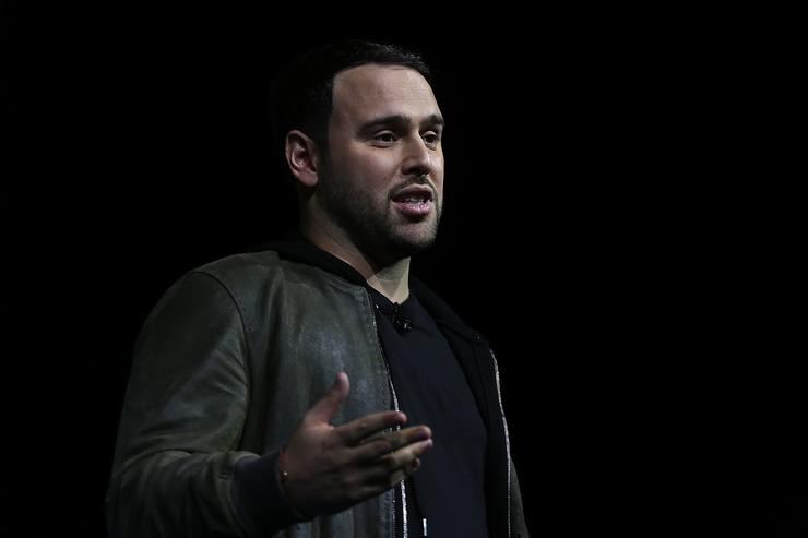 Founder of SB Projects Scooter Braun speaks during a keynote at CES 2016 at the Las Vegas Convention Center on January 7, 2016 in Las Vegas, Nevada. CES, the world's largest annual consumer technology trade show, runs through January 9 and features 3,600 exhibitors showing off their latest products and services to more than 150,000 attendees.