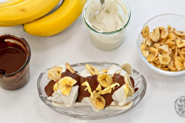 Bound 2 Banana Split - An all-banana-everything spin on a classic split with banana-agave ice cream, banana whipped cream, and banana fudge.