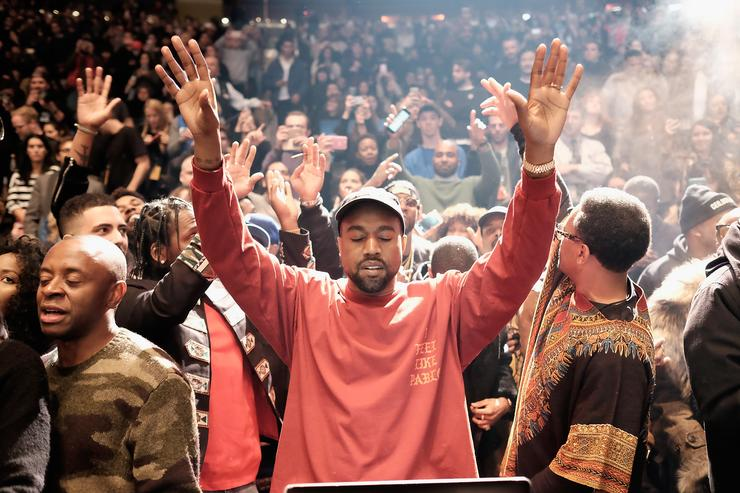 Kanye at Yeezy 3 fashion show at MSG