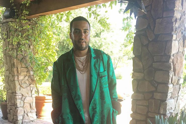 French Montana in a bath robe