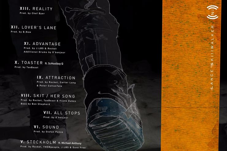 "back album cover (tracklist) of Lance Skiiiwalker's ""Introverted Intuition"" album"
