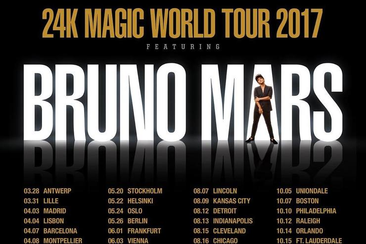 "flyer for Bruno Mars ""24K Magic"" world tour"
