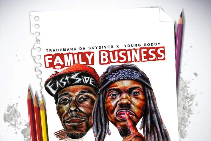 """album cover for Trademark Da Skydiver & Young Roddy's """"Family Business"""""""