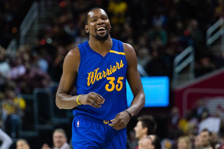 Kevin Durant #35 of the Golden State Warriors reacts during the first half against the Cleveland Cavaliers at Quicken Loans Arena on December 25, 2016 in Cleveland, Ohio.