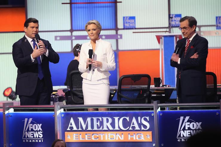 Moderators (Lto R) Bret Baier, Megyn Kelly and Chris Wallace are introduced at the Republican presidential debate sponsored by Fox News at the Fox Theatre on March 3, 2016 in Detroit, Michigan. Voters in Michigan will go to the polls March 8 for the State's primary.