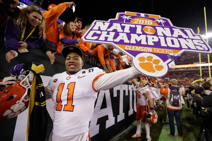 Safety Isaiah Simmons #11 of the Clemson Tigers celebrates after defeating the Alabama Crimson Tide 35-31 to win the 2017 College Football Playoff National Championship Game at Raymond James Stadium on January 9, 2017 in Tampa, Florida.