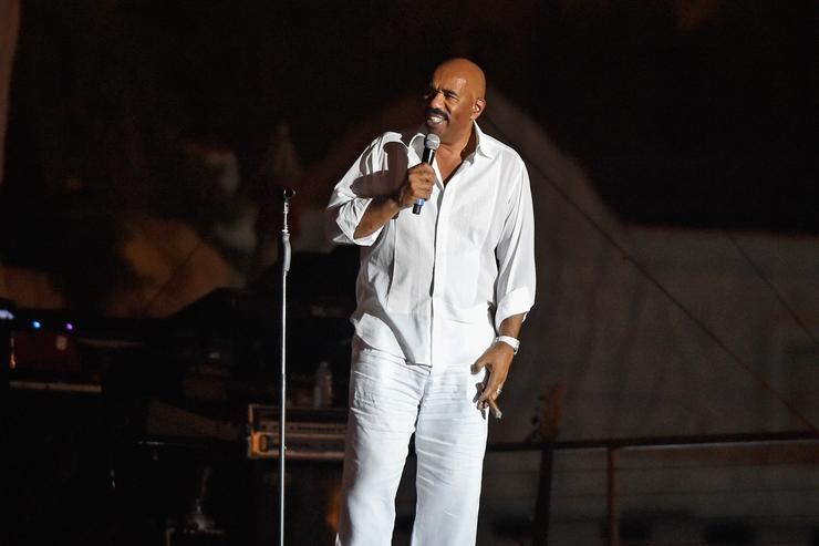Comedian Steve Harvey speaks during the Neighborhood Awards Beach Party at the Mandalay Bay Beach at the Mandalay Bay Resort and Casino on July 24, 2016 in Las Vegas, Nevada.