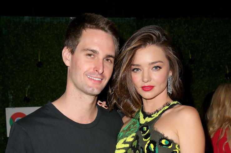 Entrepreneur Evan Spiegel (L) and Model Miranda Kerr attend the Republic Records Grammy Celebration presented by Chromecast Audio at Hyde Sunset Kitchen & Cocktail on February 15, 2016 in Los Angeles, California.
