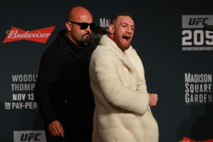 UFC Featherweight Champion Conor McGregor reacts as he leaves the stage after the UFC 205 press conference at The Theater at Madison Square Garden on November 10, 2016 in New York City.