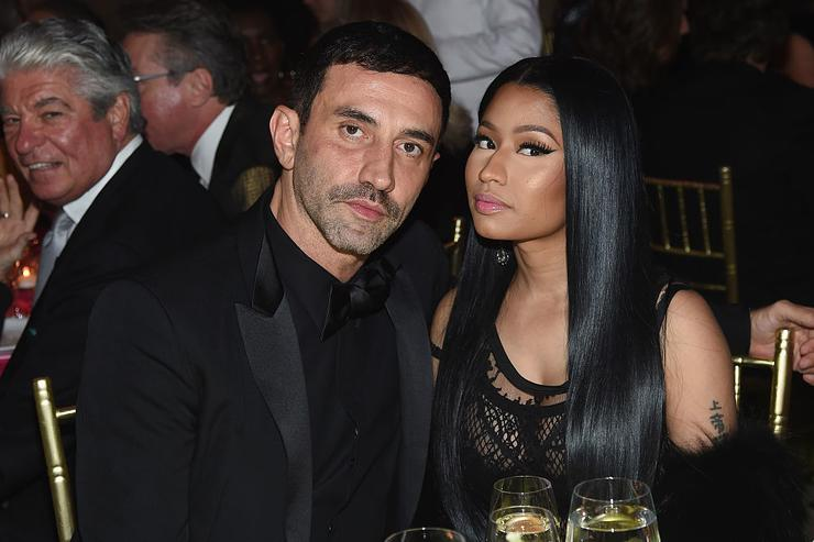 Nicki Minaj (R) and Riccardo Tisci attend 2016 Fashion Group International Night Of Stars Gala at Cipriani Wall Street on October 27, 2016 in New York City.