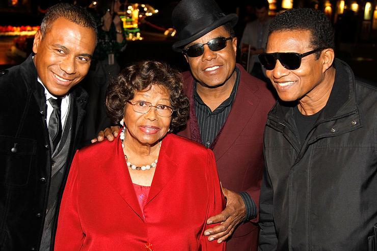 Show musical designer Kevin Antunes, Katherine Jackson, Tito Jackson and Jackie Jackson appear at Michael Jackson Fan Fest prior to the Las Vegas premiere of Michael Jackson THE IMMORTAL World Tour by Cirque du Soleil at the Mandalay Bay Resort & Casino December 3, 2011 in Las Vegas, Nevada.