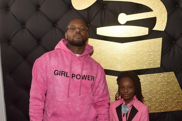 Hip Hop Artist Schoolboy Q and daughter Joy Hanley attend The 59th GRAMMY Awards at STAPLES Center on February 12, 2017 in Los Angeles, California