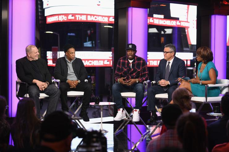 Harvey Weinstein, Jay Z, Michael Che, Jeffrey Toobin, and Gayle King speak onstage during TIME AND PUNISHMENT: A Town Hall Discussion with JAY Z and Harvey Weinstein on Spike TV at MTV Studios on March 8, 2017 in New York City.