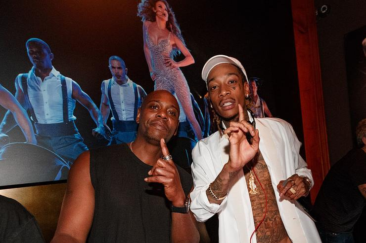 Comedian Dave Chappelle (L) and rapper Wiz Khalifa attend Jennifer Lopez's 2015 American Music Awards After Party hosted by CÎROC with Cross Pens on November 22, 2015 in Los Angeles, California.