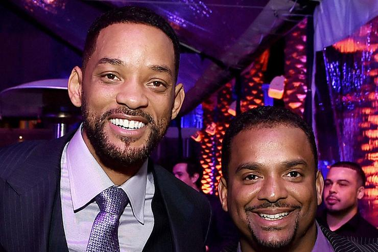 Actors Will Smith (L) and Alfonso Ribeiro pose at the after party for the premiere of Warner Bros. Pictures' 'Focus' at the W Hotel on February 24, 2015 in Los Angeles, California.