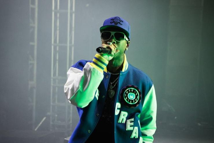 Tyga on stage performing